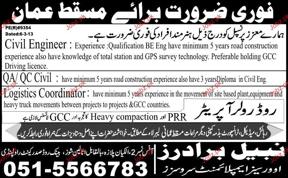 Civil Engineers, QA/QC Civil and Logistics Coordinator Wante