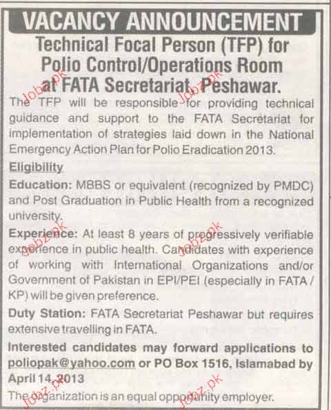 Technical Focal Person Job Opportunity