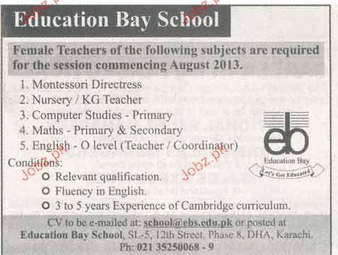 Montessori Directress, KG Teachers Job Opportunity