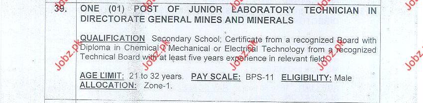 Junior Laboratory Technician in Mines and Minerals