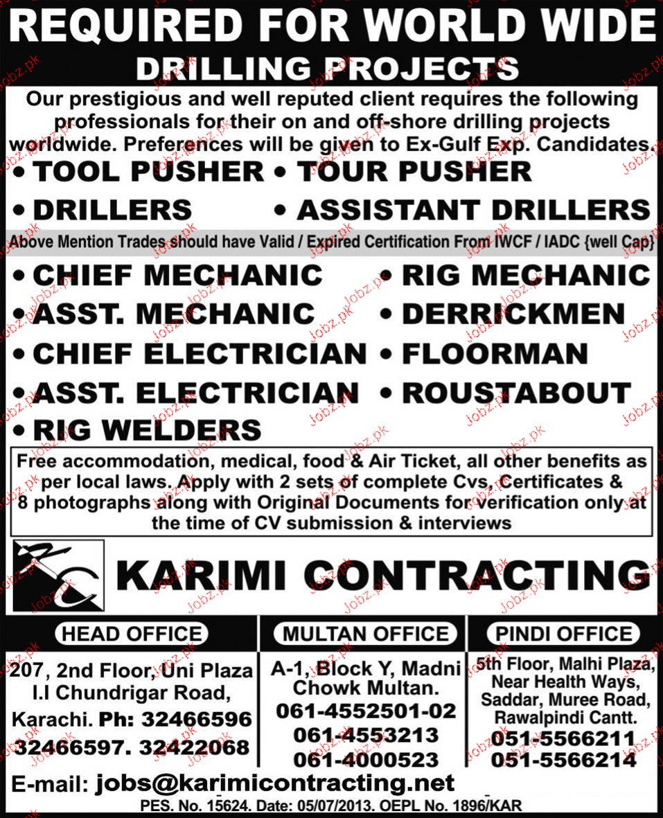 Tool Pushers, Drillers, Assistant Drillers Job Opportunity