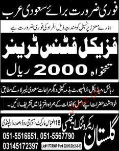 Physical Fitness Trainers Job Opportunity