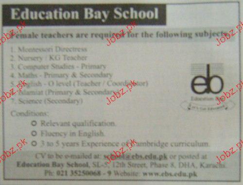 Teachers Job in Education Bay School