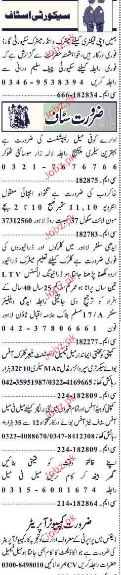 Jang Classified Security Guards, Receptionist Wanted