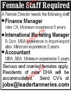 Finance Manager, International Marketing Manager Wanted