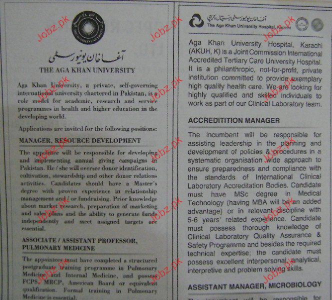 Manager Resource Development Job in The Aga Khan University