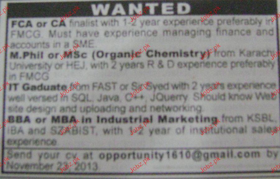 MSc Chemistry, IT Graduates Job Opportunity