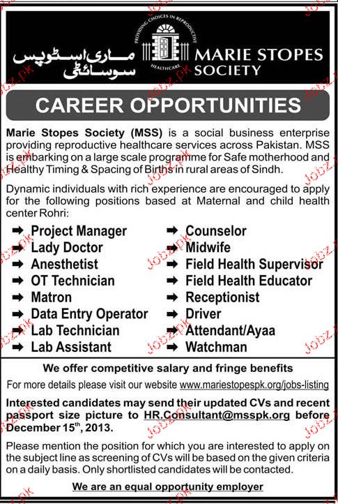 Project Manager, Lady Doctors, Counselors Job Opportunity