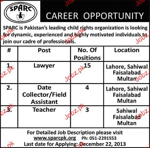 Lawyers, Data Collectors and Teachers Job Opportunity