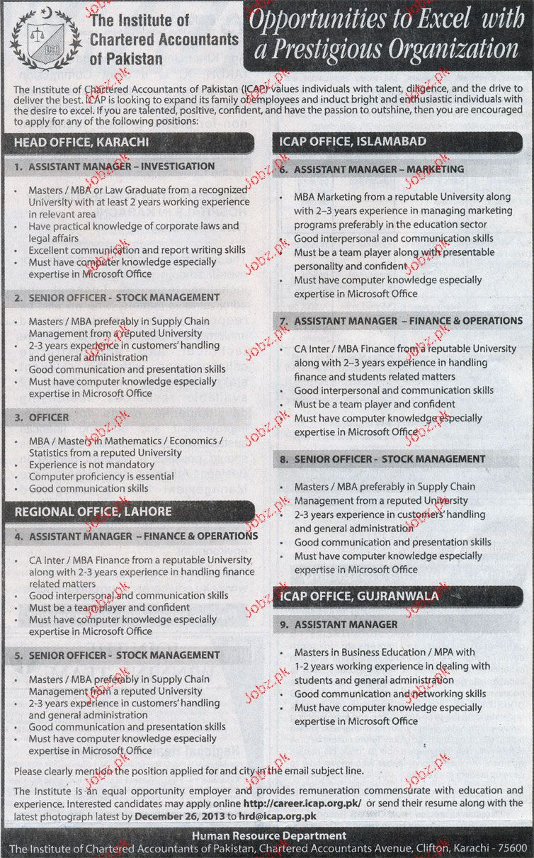 Assistant Manager Investigation Job in The Institute of Char