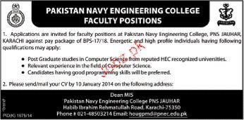 Teaching Faculty Job Pakistan Navy Engineering College