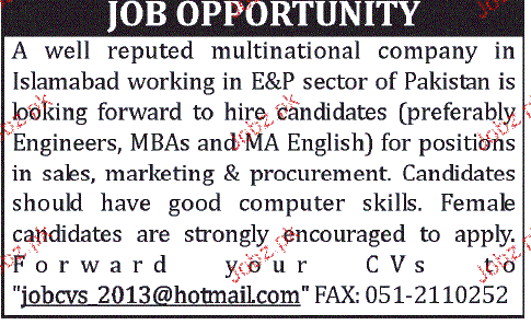Engineers, MBAs and MA English Job Opportunity