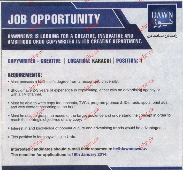 Copywriters and Creatives Job Opportunity
