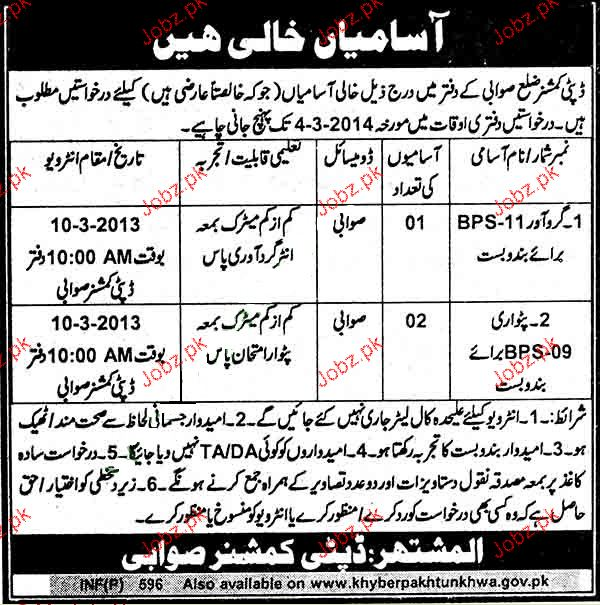 Girdawar and Patwari Job in District Government