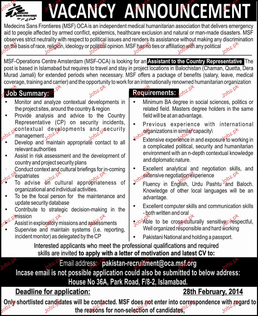 Assistant to the Country Representatives Job Opportunity