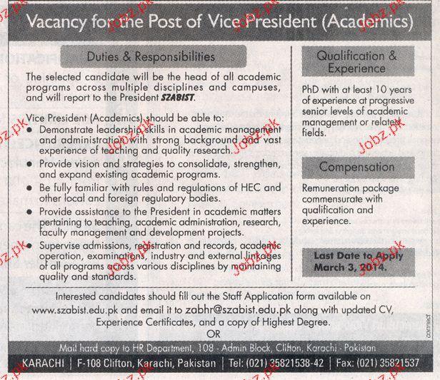 President Academics Job Opportunity