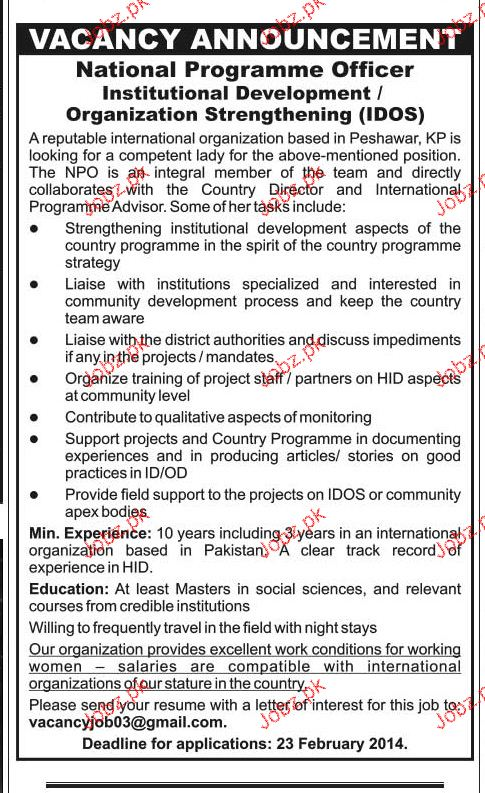 National Programme Officers Job Opportunity