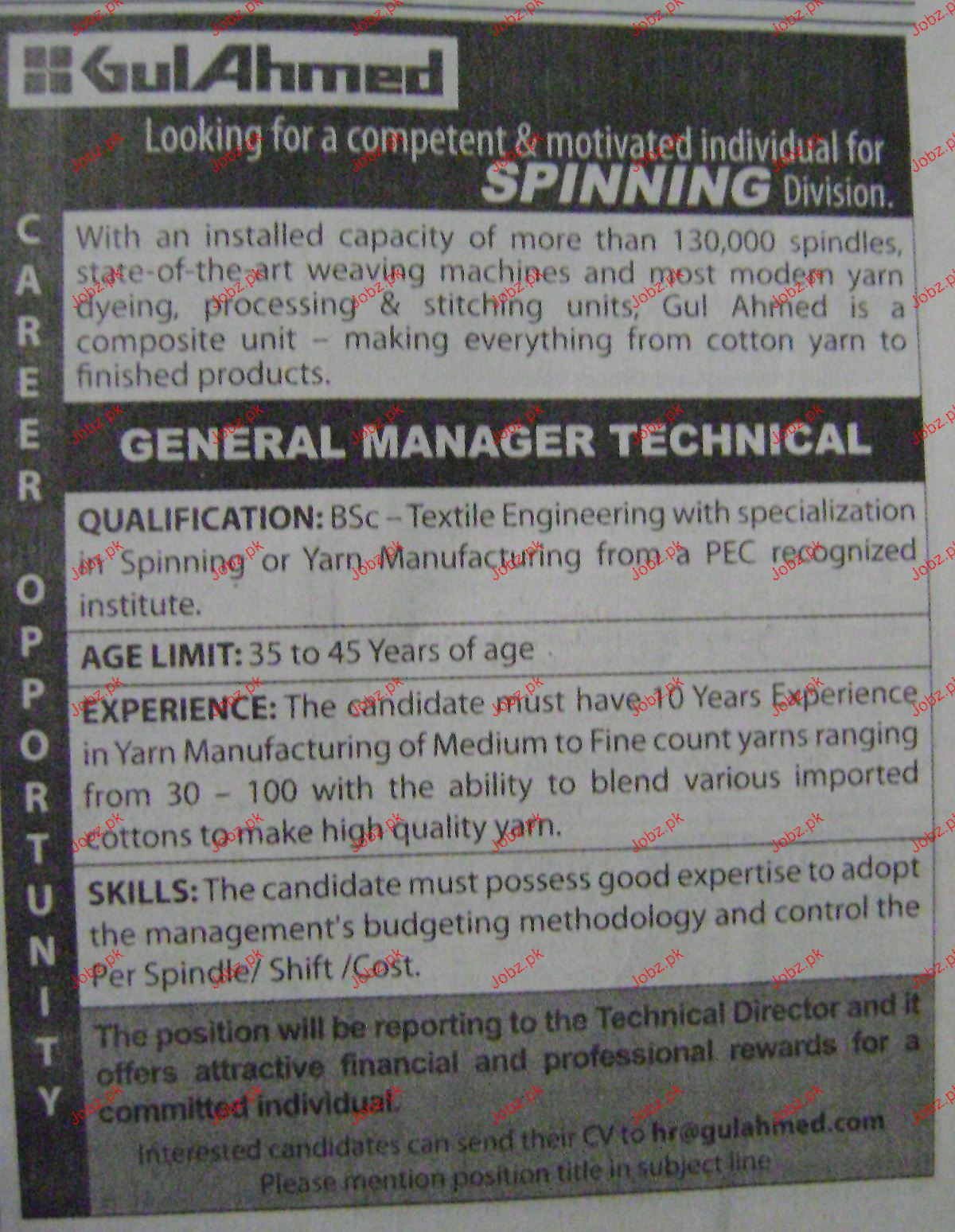 General Manager Technical Job Opportunity
