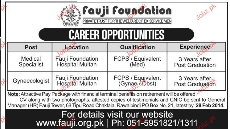 Medical Specialist and Gynecologist Job in Fauji Foundation