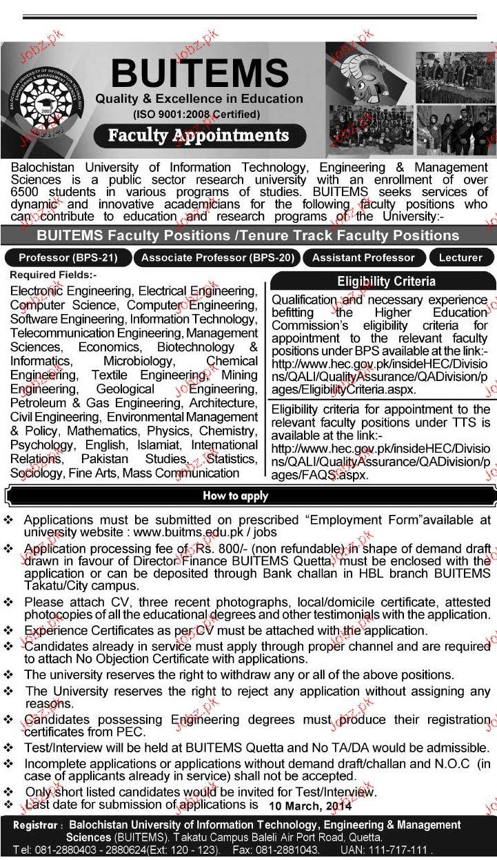 teaching Jobs in Balochistan University of Technology, Engin