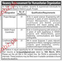 Project Manager and Wash Project Coordinator Wanted
