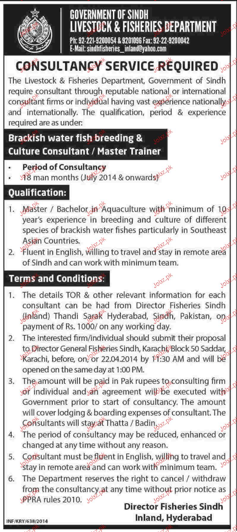 Consultants / Master Trainers Job in Live Stock & Fisheries