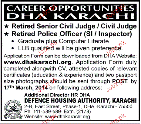 Retired Senior Civil Judge and Retired Police Officer Wanted