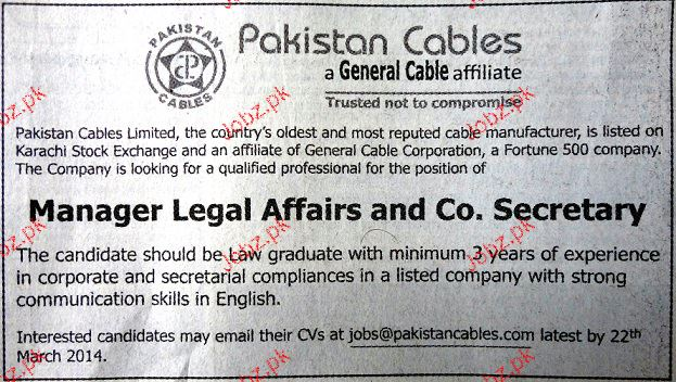 Manager Legal Affairs and Co Secretary Job Opportunity