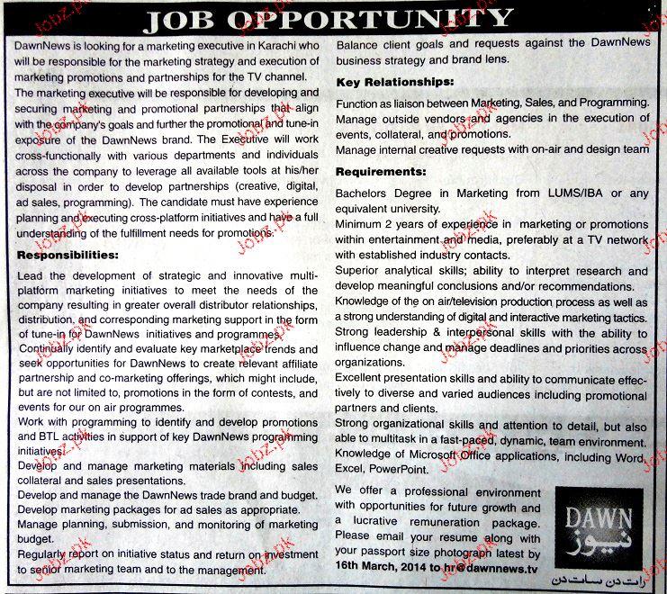 Marketing Executives Job in Dawn News