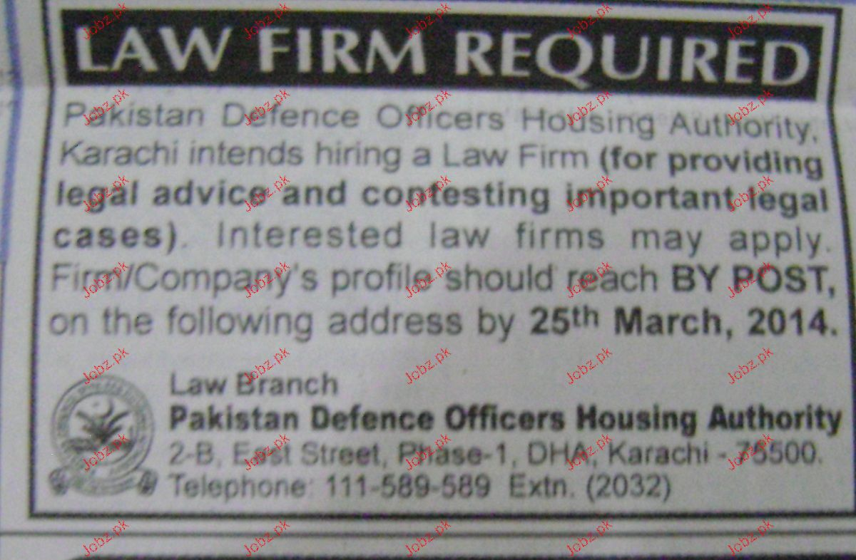 Legal Staff Job for Law Firm in Karachi