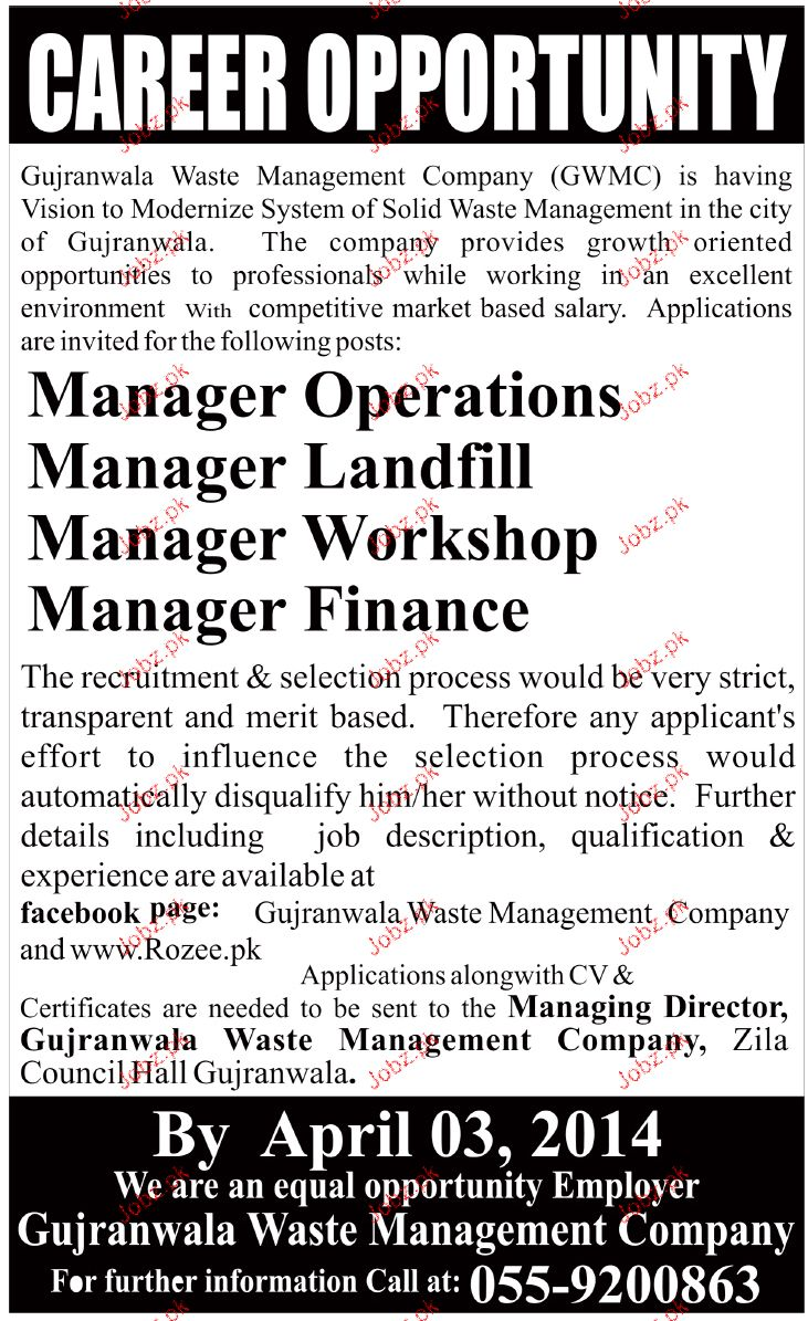 Manager Operations, manager Landfill Job Opportunity