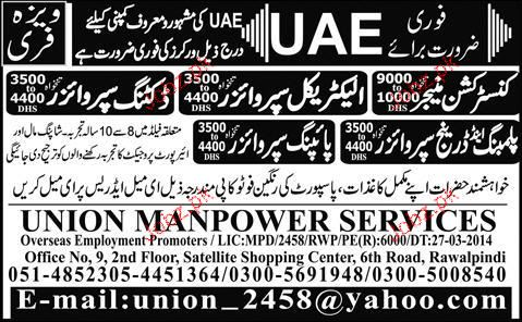 Construction Manager, Electrical Supervisors Job Opportunity