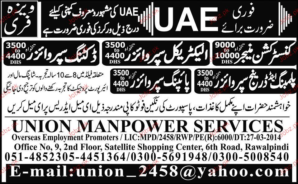Construction Manager, Electrical Supervisors Wanted