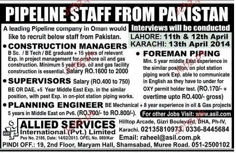 Construction Manager, Supervisors, Foreman Piping Wanted