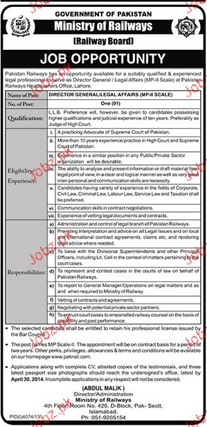 Director General Legal Affairs Job in Ministry of Railway