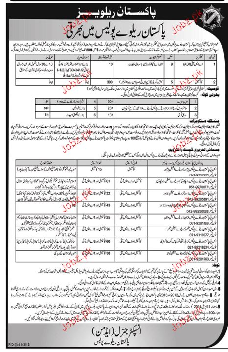 Recruitment of ASI and Constables in Pakistan Railway