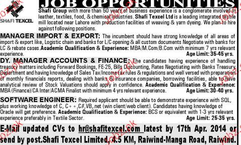 Manager Import & Export, Deputy Manager Job Opportunity