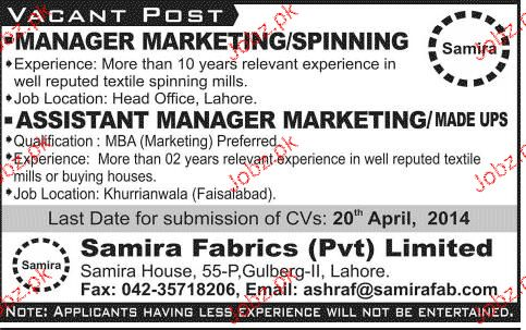 Manager Marketing / Spinning Job Opportunity