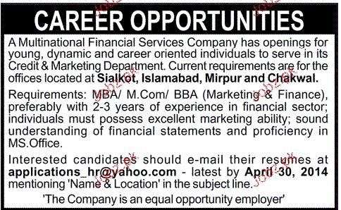 Credit &  Marketing Department Staff  Job Opportuntiy