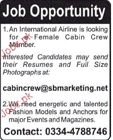 Female Cabin Crew Job opportunity