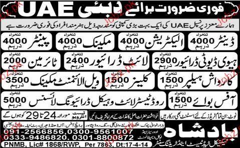 Denters, Electricians, Mechanics, Painters Job Opportunity