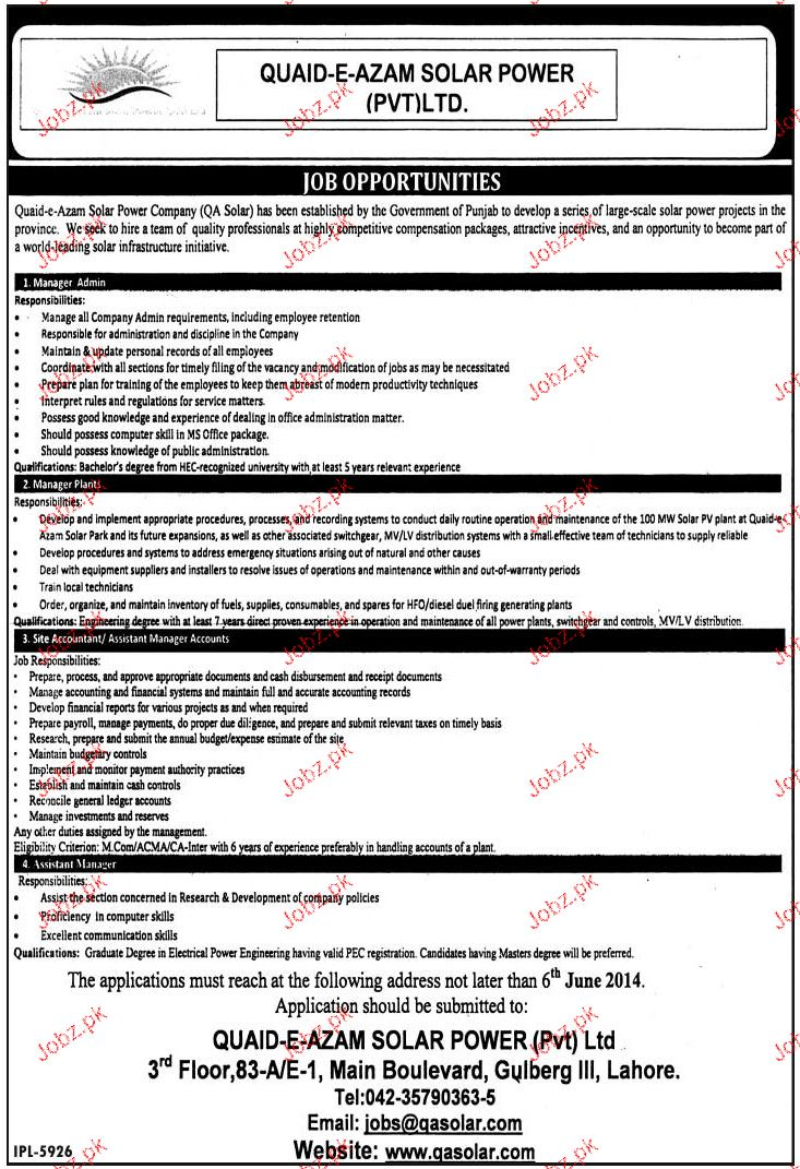 Manager Admin, Manager Plant Job Opportunity