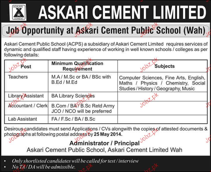 Teachers, Library Assistants, Accountant  Job Opportunity
