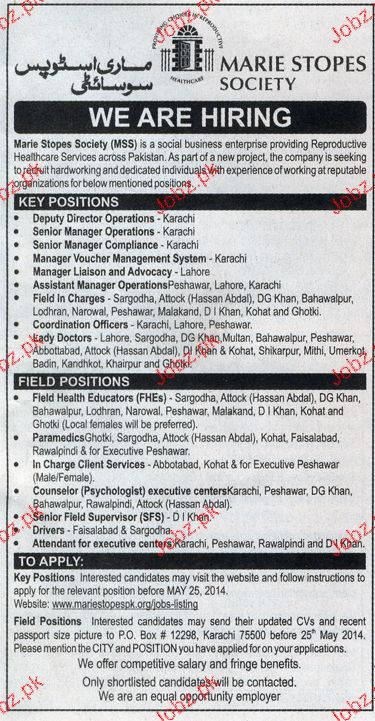 Manager Liaison, Field Inchage, Senior Manager Wanted