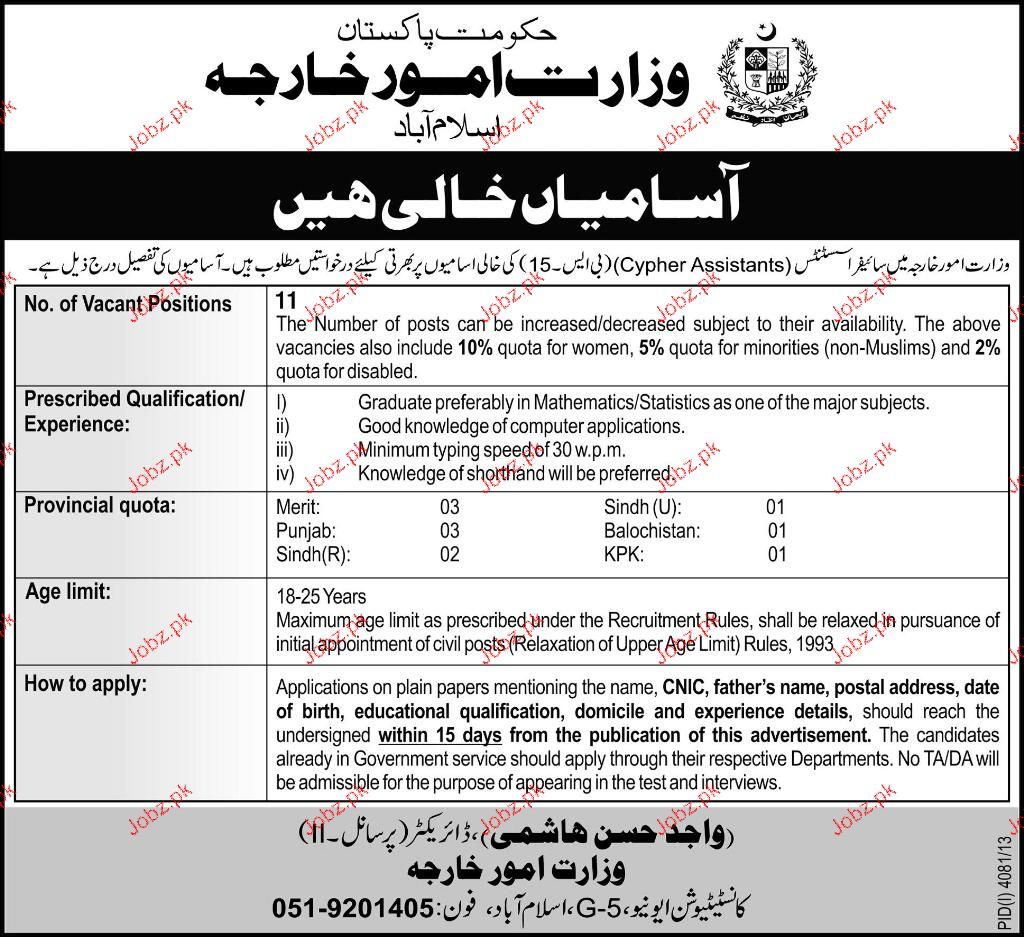 Cypher Assistants Job in Foreign Ministry
