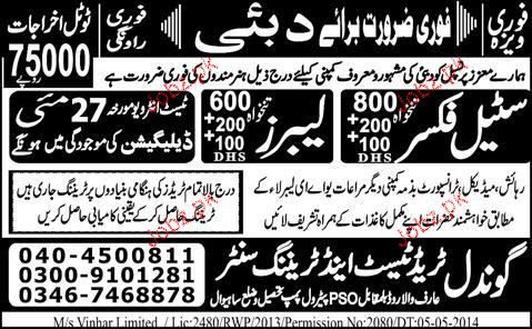 Steel Fixers and Labors Job Opportunity