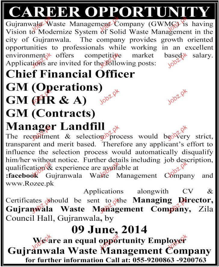Chief Financial Officer, GM Hr Job Opportunity