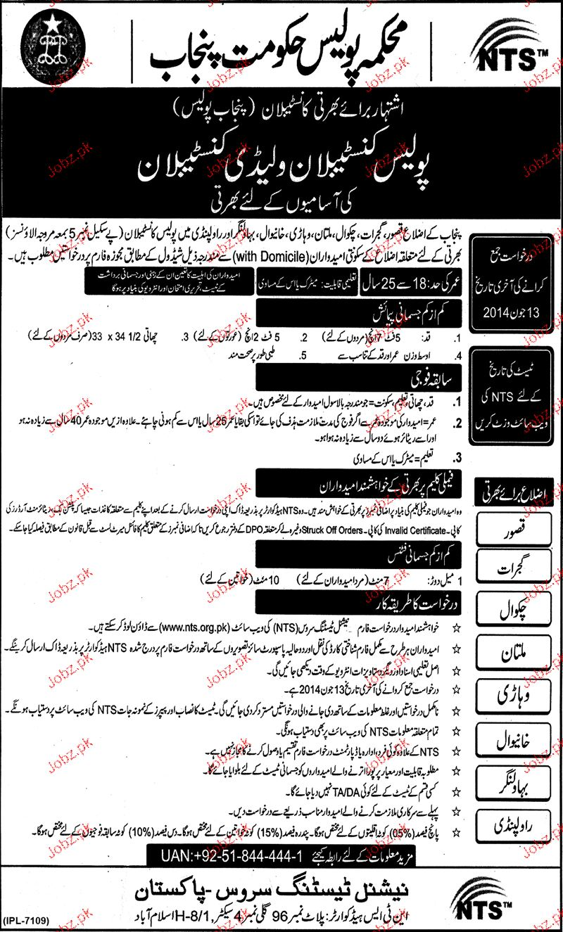 Police Constable Recruitment  in Punjab Police