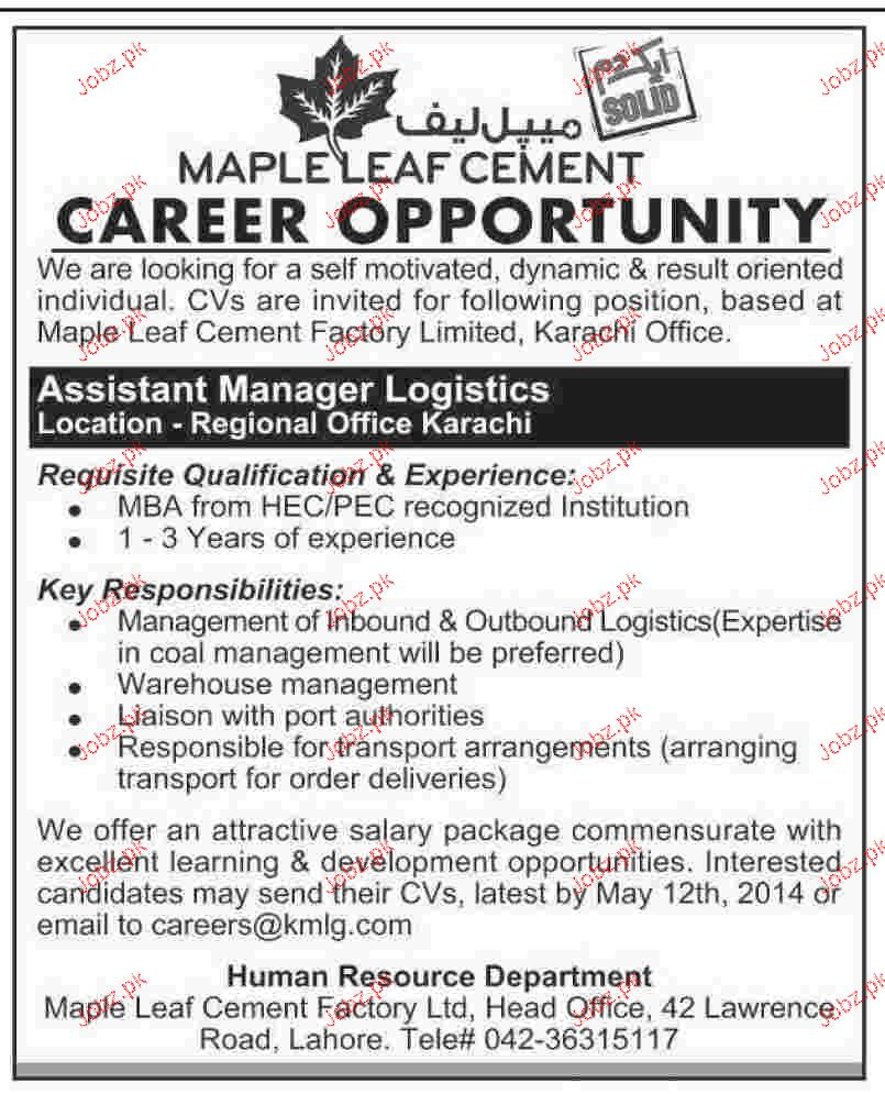 Assistant Manager Logistics Job Opportunity