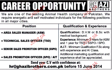 Area Sales Manager, Technical Sales Officers Job Opportunity